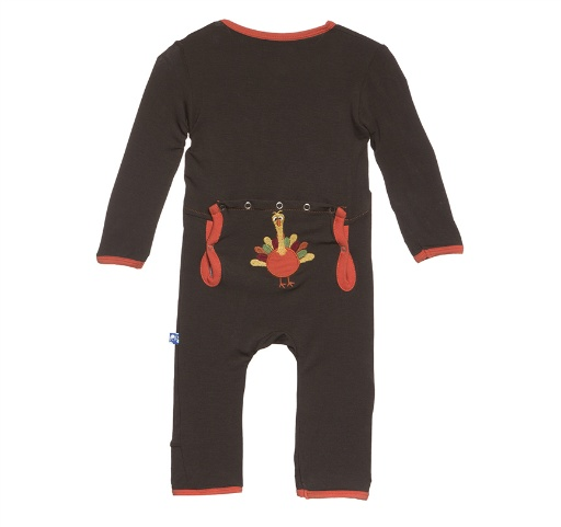 KICKEE PANTS KICKEE PANTS HOLIDAY FITTED APPLIQUE COVERALL