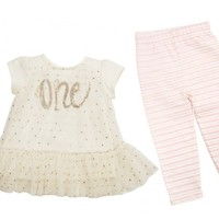 MUD PIE BIRTHDAY PRINCESS TUNIC & LEGGING SET
