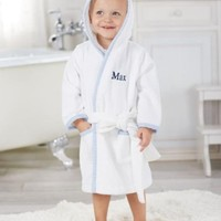 MUD PIE BLUE SEERSUCKER HOODED ROBE