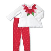 MUD PIE POINSETTIA TUNIC & LEGGING SET