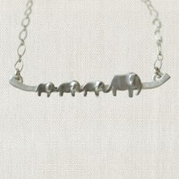 "SWOON 3 BABY ELEPHANT NECKLACE 18"" STERLING SILVER NECKLACE"