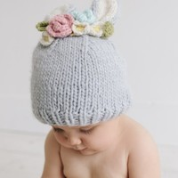 THE BLUEBERRY HILL BUNNY HAT WITH FLOWERS