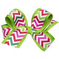 WEE ONES CHEVRON GROSGRAIN OVERLAY BOW
