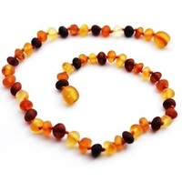 MOMMA GOOSE PRODUCTS BABY AMBER TEETHING NECKLACE-UNPOLISHED BAROQUE