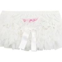 RUFFLEBUTTS, INC. RUFFLEBUTTS WHITE FRILLY DIAPER COVER