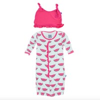 KICKEE PANTS WATERMELON PRINT RUFFLE LAYETTE CONVERTER GOWN AND KNOT HAT SET