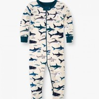 HATLEY TOOTHY SHARKS ORGANIC COTTON FOOTED COVERALL