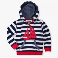 HATLEY NAVY AND WHITE STRIPE SAILBOAT HOODIE