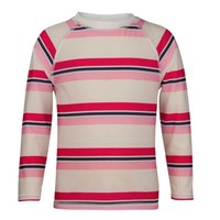 SNAPPER ROCK PINK & NAVY CABANA STRIPE LONG SLEEVE RASH TOP