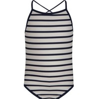 SNAPPER ROCK NAVY & WHITE STRIP SWIMSUIT