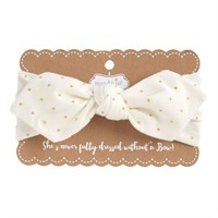 MUD PIE JERSEY KNOTTED BOW GOLD DOT HEADBAND
