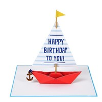 MERI MERI SALING BOAT WITH WOODEN ANCHOR GREETING CARD