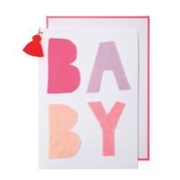 MERI MERI PINK FELT BABY CARD