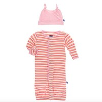 KICKEE PANTS PRINT RUFFLE LAYETTE CONVERTER GOWN & KNOT HAT IN GIRL FRESH WATER STRIPE
