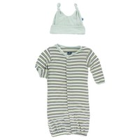 KICKEE PANTS KICKEE PANTS PRINT LAYETTE GOWN CONVERTER & KNOT HAT IN BOY FRESH WATER STRIPE