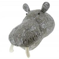 FIONA WALKER FIONA WALKER ENGLAND FOIL GREY SILVER HIPPO HEAD WALL MOUNT