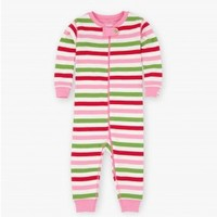 HATLEY HATLEY PINK HOLIDAY STRIPE COVERALL