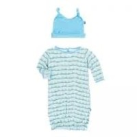 KICKEE PANTS ALOE ANTS GOWN & DOUBLE KNOT HAT