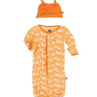 KICKEE PANTS PRINT RUFFLE LAYETTE CONVERTER GOWN & KNOT HAT IN FUZZY BEE