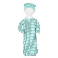 KICKEE PANTS BOY TROPICAL STRIPE LAYETTE GOWN CONVERTER & KNOT HAT