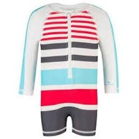SNAPPER ROCK SLATE/AQUA/RED LONG SLEEVE BATHING SUIT