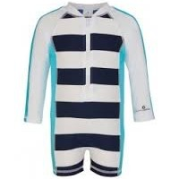 SNAPPER ROCK NAVY & AQUA LONG SLEEVE BATHING SUIT