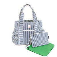 BELLA TUNNO BELLA TUNNO NAVY STRIPE PEPLUM TOTE