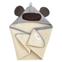 3 SPROUTS 3 SPROUTS GRAY MONKEY HOODED TOWEL