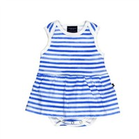 TOOBYDOO TOOBYDOO WATERCOLOR BLUE STRIPE BABY DRESS