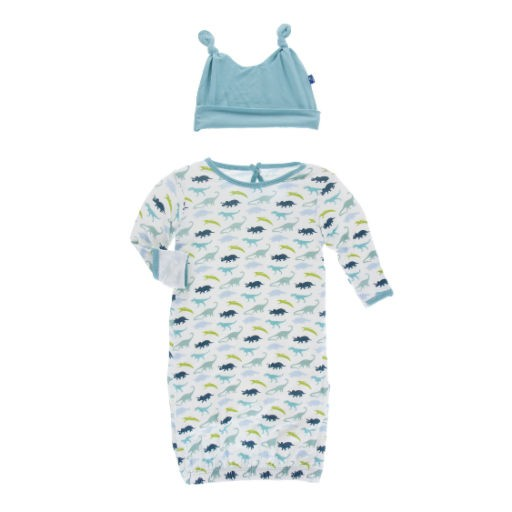KICKEE PANTS KICKEE PANTS PRINT LAYETTE GOWN & DOUBLE KNOT HAT SET