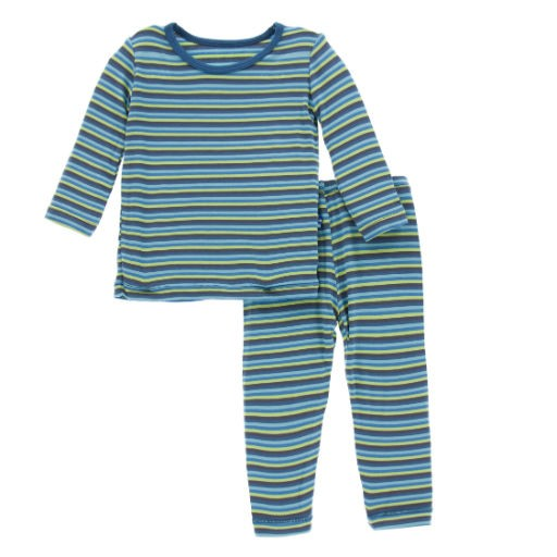 KICKEE PANTS BOY ANNIVERSARY STRIPE PRINT LONG SLEEVE PAJAMA SET