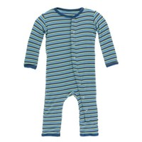 KICKEE PANTS BOY ANNIVERSARY STRIPE PRINT COVERALL WITH ZIPPER