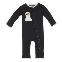 KICKEE PANTS KICKEE PANTS MIDNIGHT BOO APPLIQUE LAYETTE COVERALL
