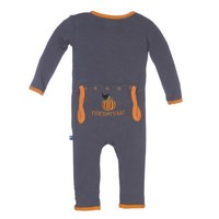 KICKEE PANTS STONE TRICK OR TREAT HOLIDAY LAYETTE APPLIQUE COVERALL