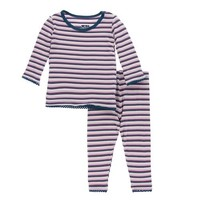 KICKEE PANTS GIRL ANNIVERSARY STRIPE PRINT LONG SLEEVE PAJAMA SET