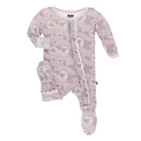 KICKEE PANTS PRINT MUFFIN RUFFLE FOOTIE  WITH SNAPS IN SWEET PEA POPPIES
