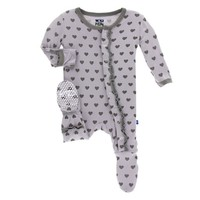 KICKEE PANTS PRINT MUFFLE RUFFLE FOOTIE WITH ZIPPER IN FEATHER HEARTS