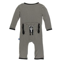 KICKEE PANTS APPLIQUE COVERALL WITH SNAPS IN FRENCH BULLDOG