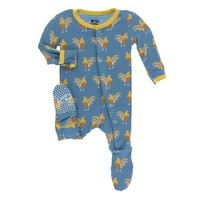 KICKEE PANTS PRINT FOOTIE WITH SNAPS IN PARISIAN ROOSTER