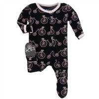 KICKEE PANTS PRINT FOOTIE WITH SNAPS IN MIDNIGHT BIKES