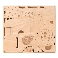 PETIT COLLAGE SAFARI WOOD PUZZLE AND PLAY SET
