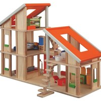 PLAN TOYS, INC. CHALET DOLLHOUSE WITH FURNITURE
