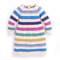 JOJO MAMAN BEBE CASHMERE MIX FAIR ISLE STRIPE DRESS