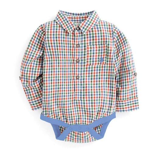 JOJO MAMAN BEBE PLAID SHIRT BODYSUIT
