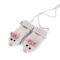 PEPPERCORN KIDS PEPPERCORN MOUSE MITTENS WITH CORD