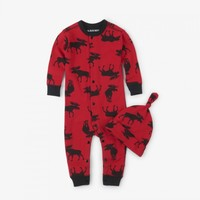 HATLEY MOOSE ON RED BABY COVERALL AND HAT
