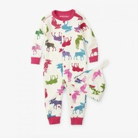 HATLEY PATTERNED MOOSE BABY COVERALL AND HAT