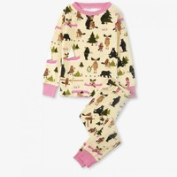 HATLEY PINK BOOK ANIMALS PAJAMA SET