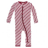 KICKEE PANTS PRINT COVERALL WITH ZIPPER IN CRIMSON CANDY CANE