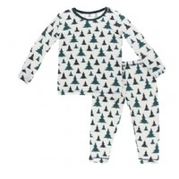 KICKEE PANTS PRINT LONG SLEEVE PAJAMA SET IN NATURAL CHRISTMAS TREES